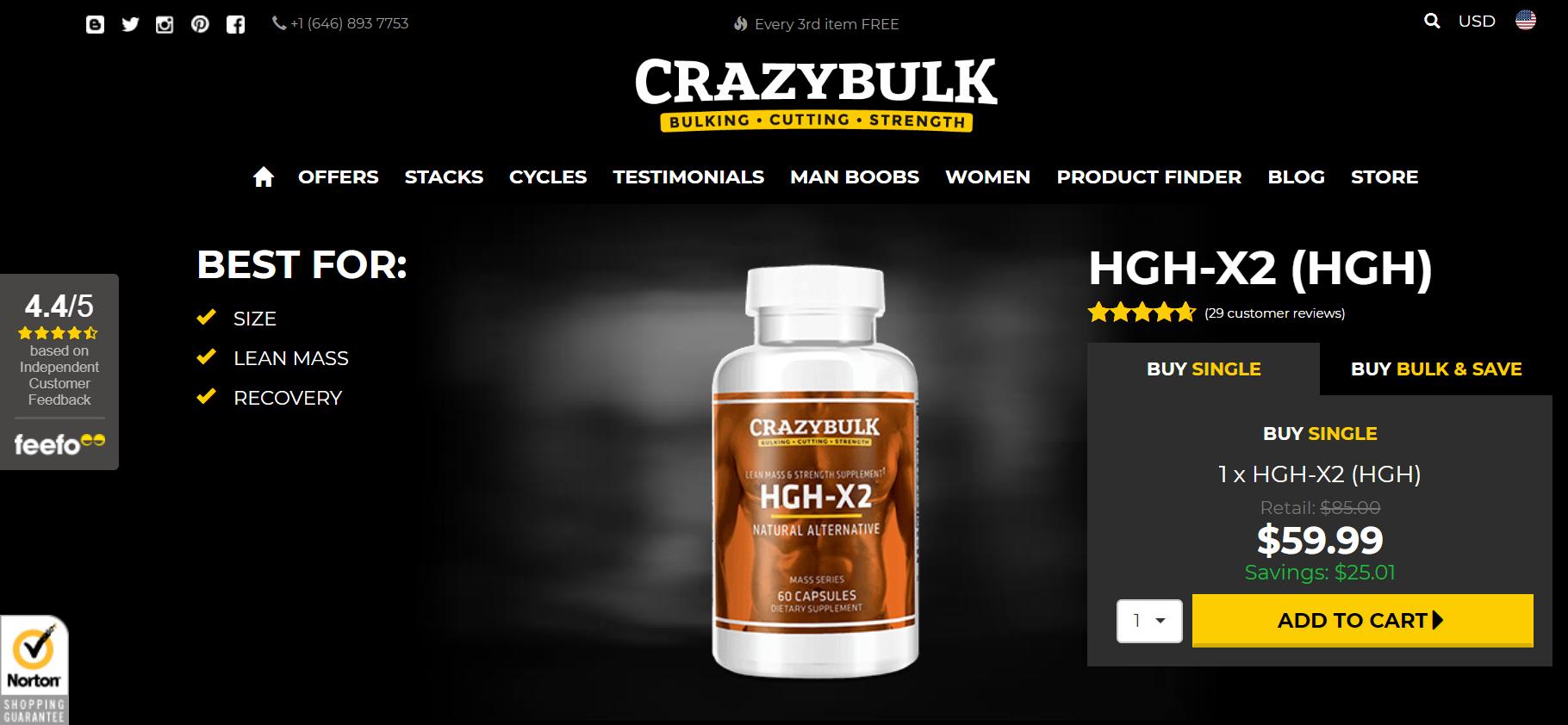 CrazyBulk HGH-X2 Official Website