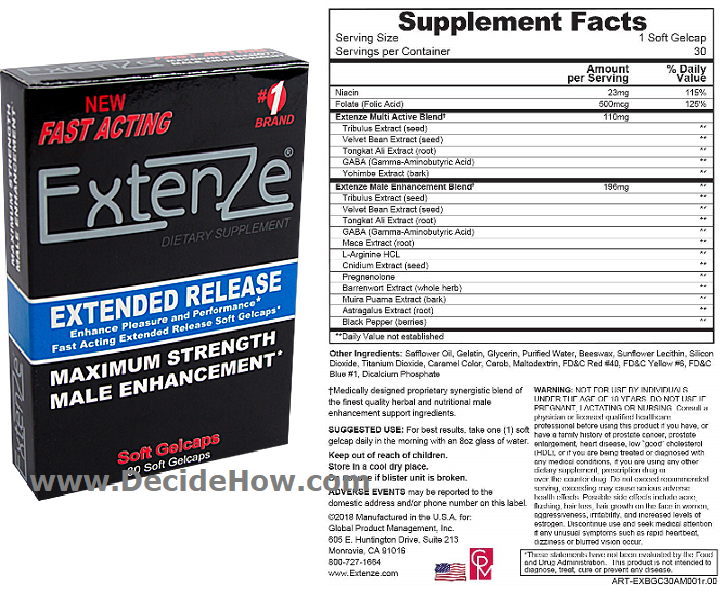 ExtenZe Ingredients